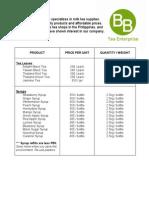 BBTeaEnterprise Pricelist