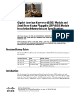 Gigabit Interface Converter (GBIC) Module and Small Form-Factor Pluggable (SFP) GBIC Module Installation Information and Specifications