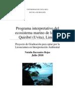 Programa Interpretativo Del Ecosistema Marino de La Isla Quiribri (Uvita), Limon