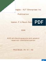 AVO Attibute Analysis Reservoir Characterization