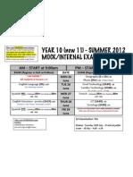 Year 10 Mock Exam Timetable Summer 2012 v1