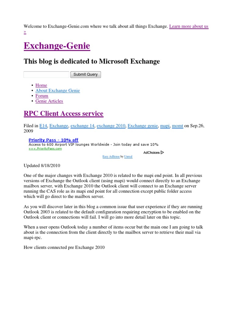 Exchange Genie CAS Array | Microsoft Exchange Server | Port