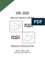 XR-200 MANUAL POS-X PRINTER