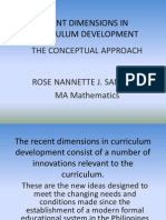 Recent Dimensions in Curriculum Development