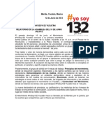 Boletín de Prensa (Relatorías) #YoSoy132 Yucatán