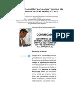 IMPORTANCIA DE LA CORRECTA APLICACIÓN Y CÁLCULO DEL FACTOR DE COSTOS ASOCIADOS AL SALARIO