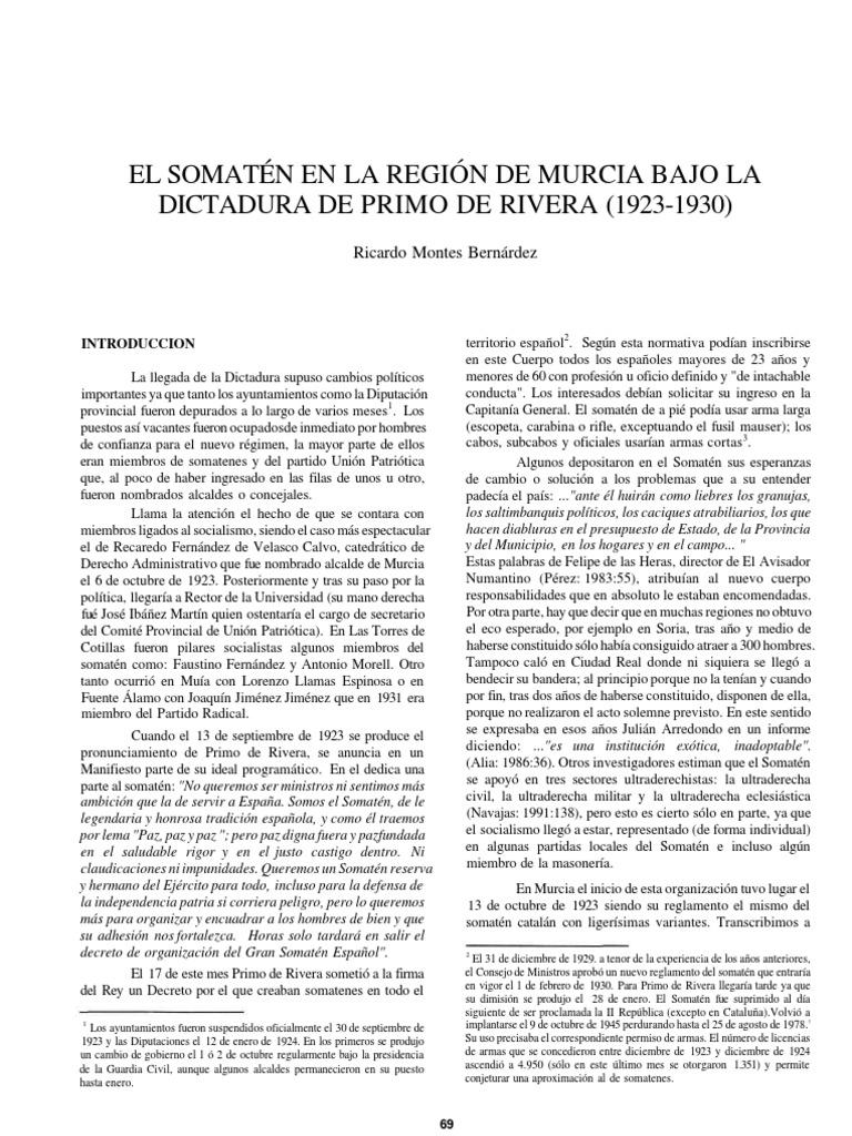 El Somat N En La Regi N De Murcia Bajo La Dictadura De Primo De  # Muebles Martinez Y Riquelme