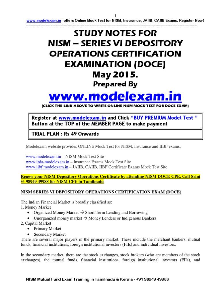 Workbooks jaiib workbook : NISM Study Material Depository Operations Series VI (DOCE). NISM ...