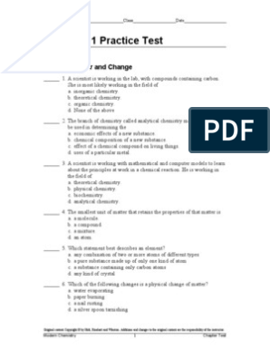 Chapter 1 Practice Test: Chapter: Matter and Change