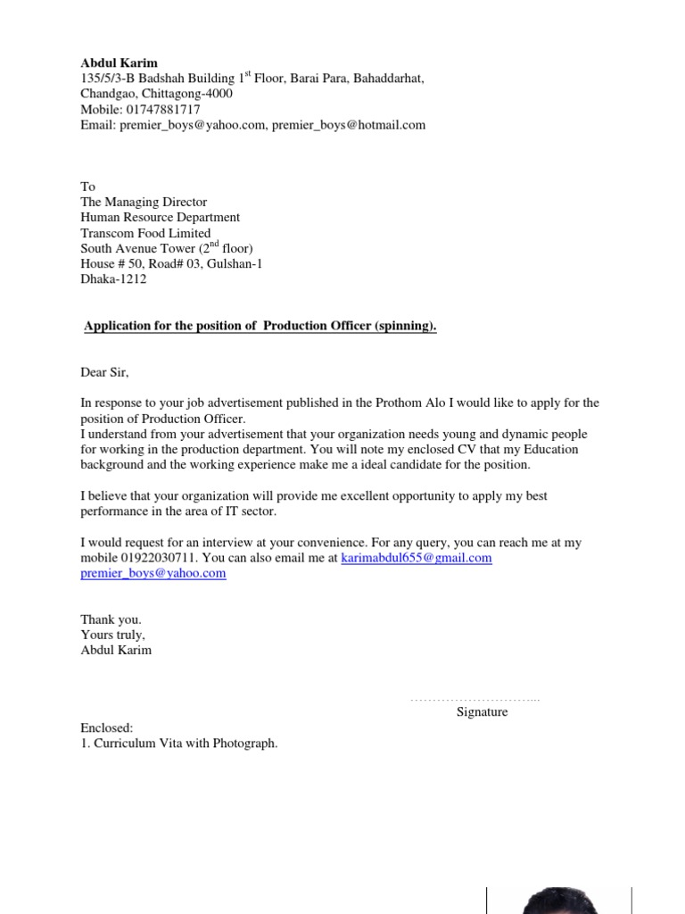 cv with cover letter