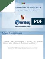 """""""Desalinización de Agua de Mar por Osmosis Inversa, Uso Potable e Industrial""""."""