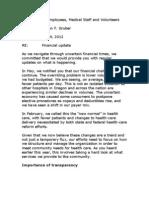 Salem Hospital Financial Update Memo