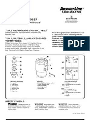 Badger 5 Garbage Disposal User Manual Electrical Connector Electrical Wiring