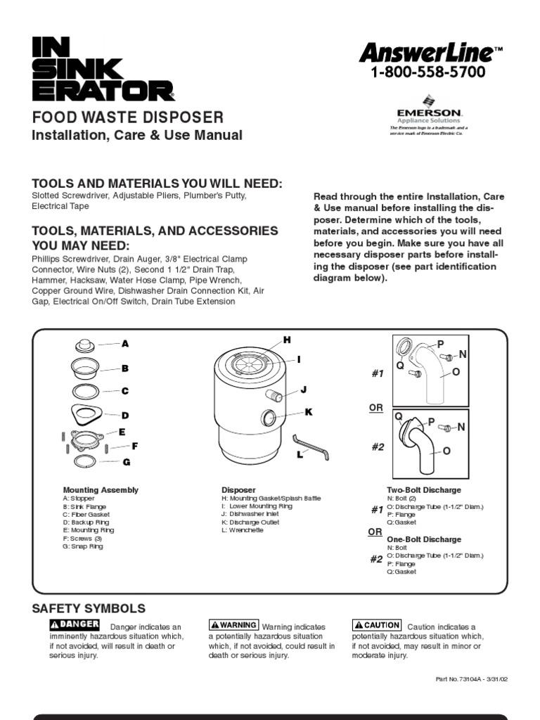 Badger 40 Garbage Disposal User Manual   Electrical Connector ...