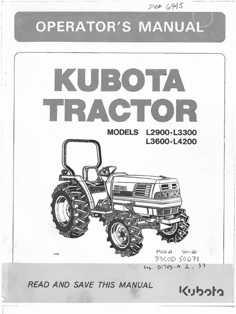 kubota l2900 l3300 l3600 l4200 owners manual pdf rh scribd com kubota tractors manuals operators manual kubota tractors manuals operators manual