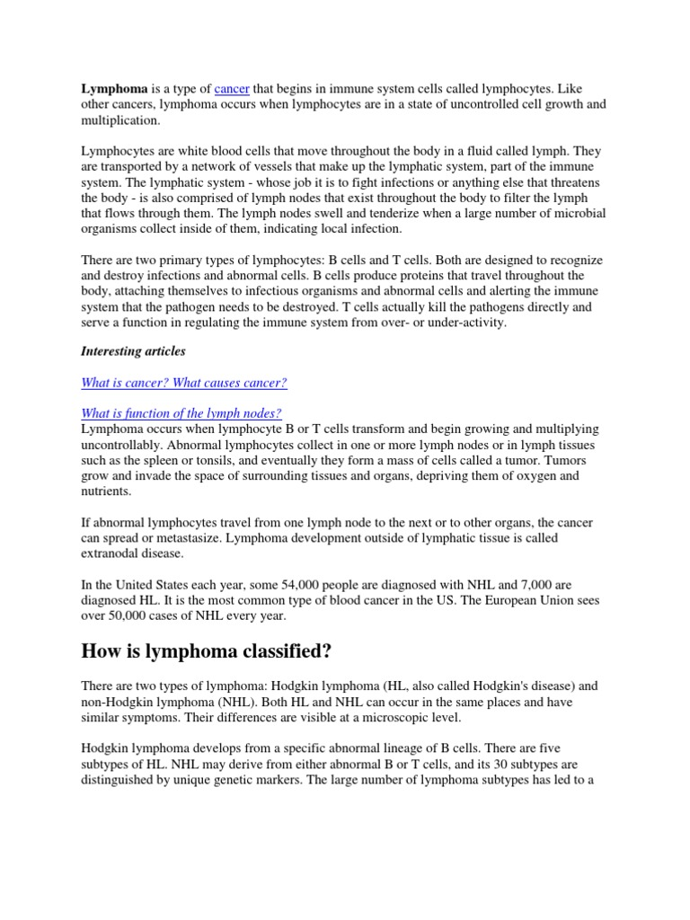 Lymphoma | Lymphoma | Lymphatic System
