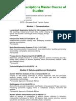 Course Descriptions Master Course of Studies