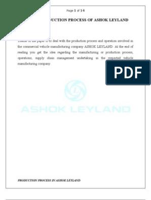 Production Process of Ashok Leyland | Vehicles | Motor Vehicle