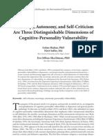 Sociotropy, Autonomy, and Self-Criticism