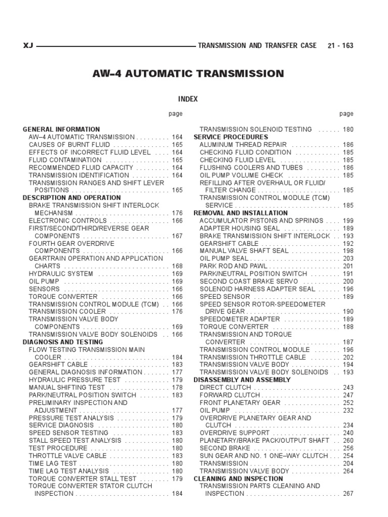 aisin warner aw4 automatic transmission manual. Black Bedroom Furniture Sets. Home Design Ideas