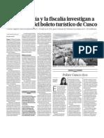 Investigan Empresa Boleto Turistico Cusco