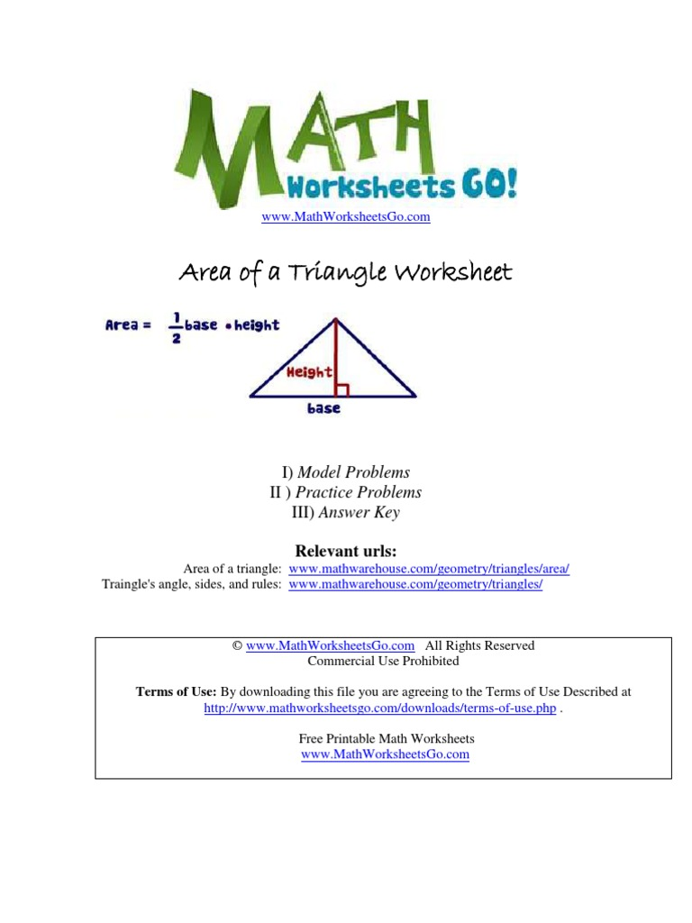 worksheet Area Of Triangle Worksheets area of triangle worksheet geometry triangle