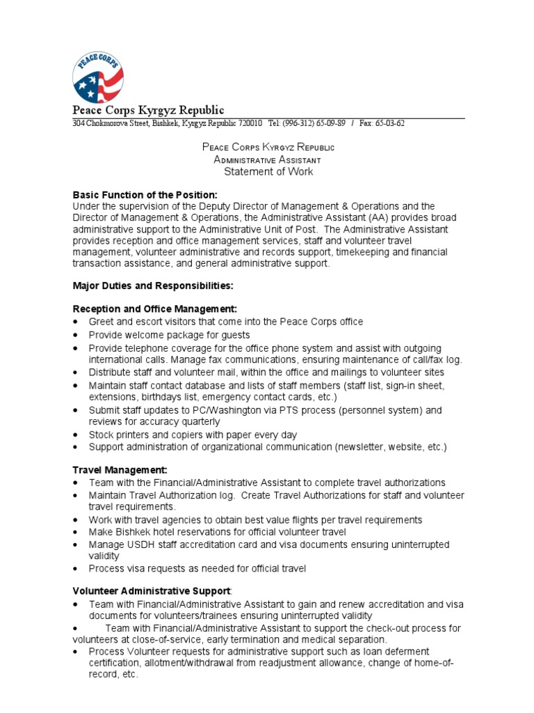 duties of administrative assistant