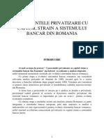 consecintele privatizarii cu capital strain a bancilor din Romania