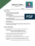 Latest Curriculum Vitae of Crisencio Paner