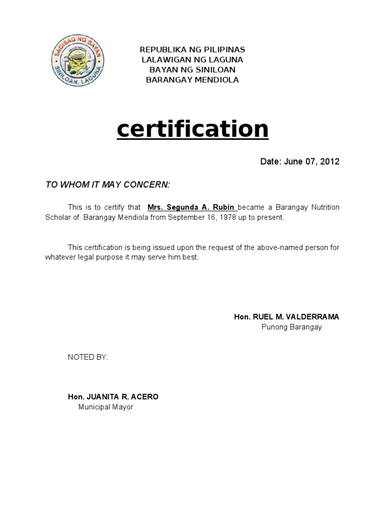 Barangay Certification Of Residency Sample Image Gallery Hcpr
