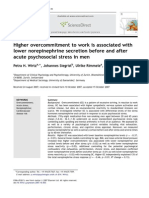 Psychoneuroendocrinology - Higher Overcommitment to Work is Associated With Lower NE After Stress
