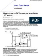 Howto Drive an 8W Fluorescent Lamp From a 12V Source