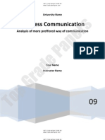 Analysis of More Proffered Way of Communication - Academic Essay Assignment - Www.topgradepapers