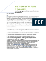 Instructional Materials for Early Childhood Education