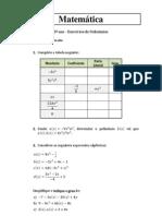 8º ano - Exercícios de introdução aos polinómios