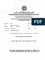 UNGS 2030, The Islamic Worldview, Final Exam 2006/2007 Semester 1