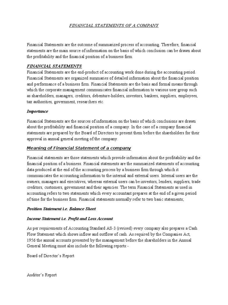 Company Final Accounts Financial Statement Balance Sheet