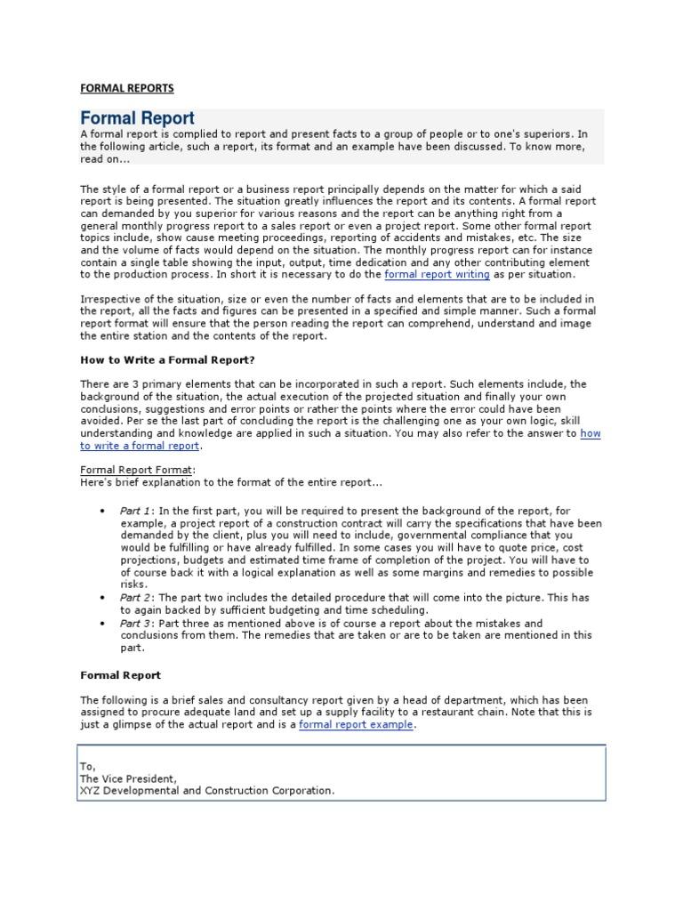 formal report template word