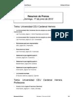 Resumen prensa CEU-UCH 17-06-2012