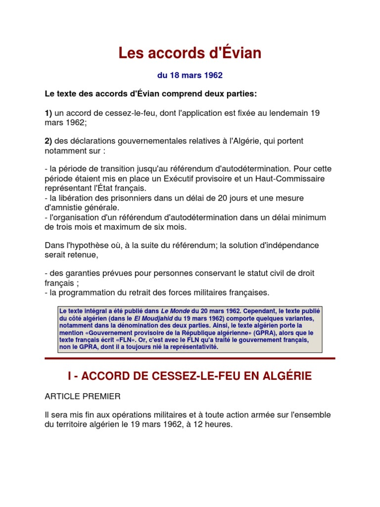 Accords D Evian Texte Integral Algerie Politique