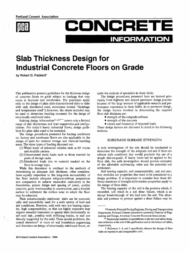 100 Slab Thickness Design for Industrial Concrete Floors on