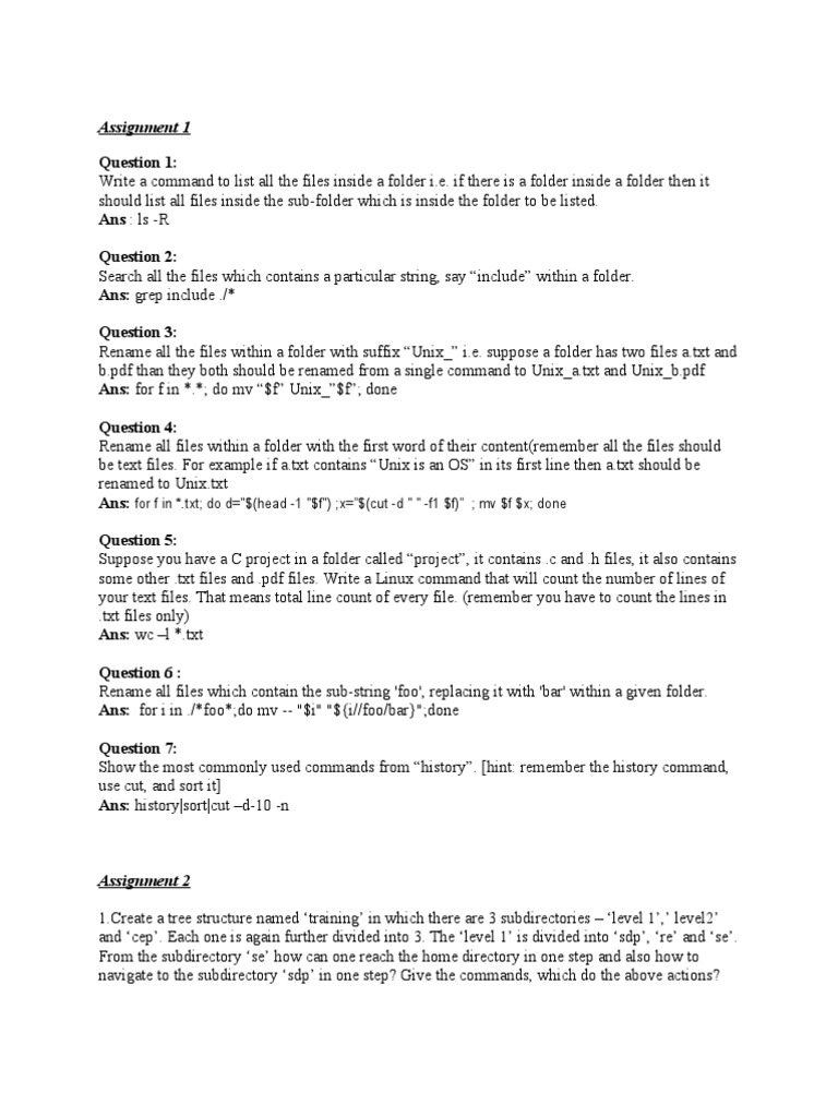 Unix Assignment | Text File | Computer File