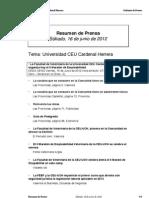 Resumen prensa CEU-UCH 16-06-2012