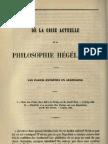 De la crise actuelle de la philosophie hégélienne Saint-René Taillandier Revue des Deux Mondes T.19 1847