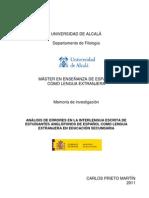Memoria Investigación_Carlos Prieto Martín_Análisis de Errores de Estudiantes Anglófonos