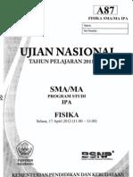 SOAL UN SMA 2012 FISIKA KODE A87