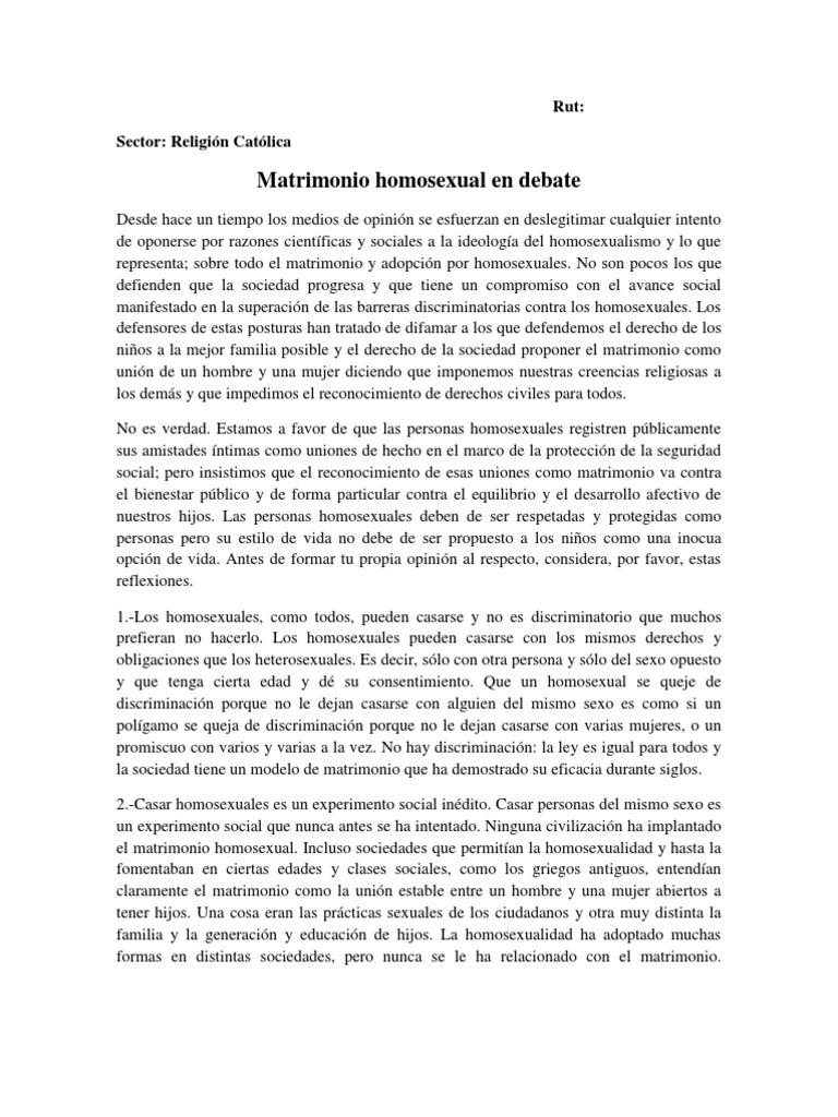 Debate a favor del matrimonio homosexual en chile