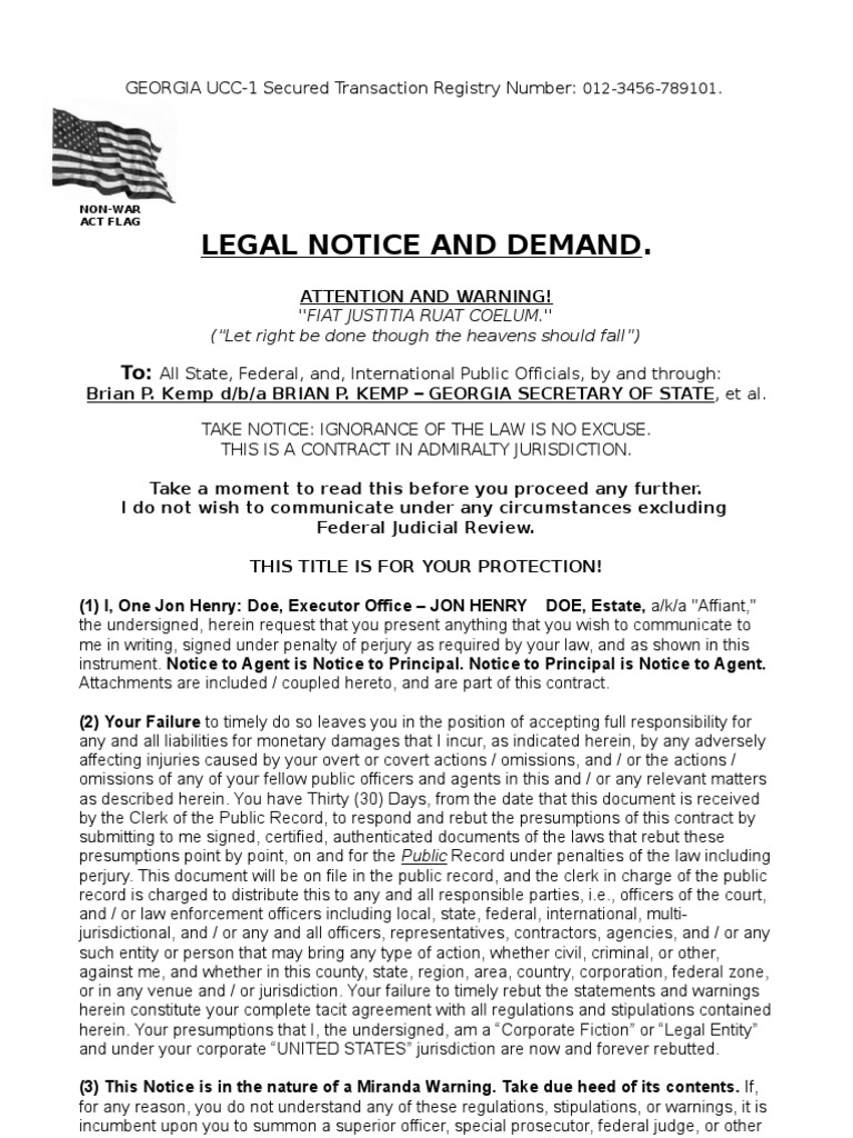 Legal Notice And Demand Template | Notary Public | Law Of Agency  Oath Of Office Template
