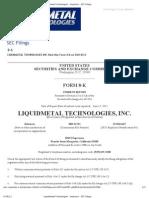 Liquidmetal Technologies SEC Filing