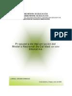 propuesta implantación modelo nacional de calidad versión educativa